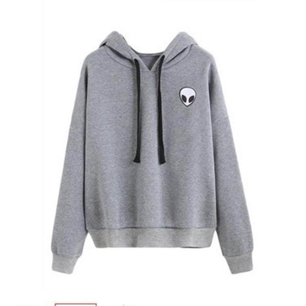 Women Fashion Alien Printing Hoodie Skull Long Sleeves Sweatershirt Cute  Thin or Thick Warm Hoodie Pullover c34608f29