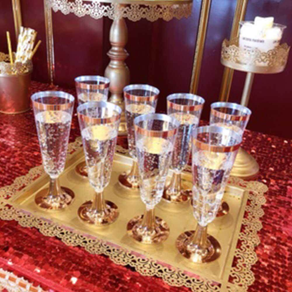 Outflety 150ml Disposable Hot Stamping Champagne Glass Plastic