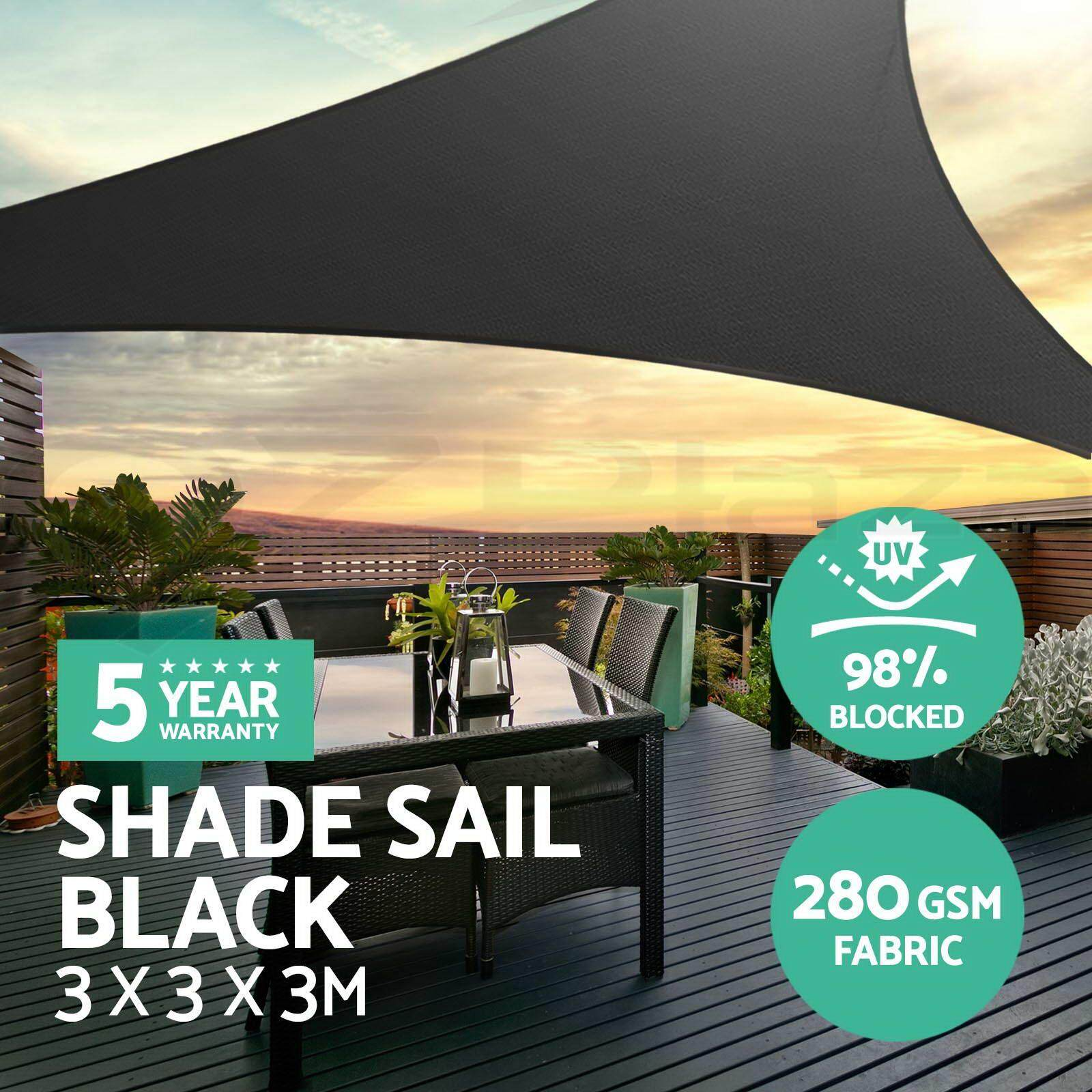 Extra Heavy Duty Shade Sail Sun Canopy Outdoor Triangle Square Rectangle Black  3*3*3m By Aure.
