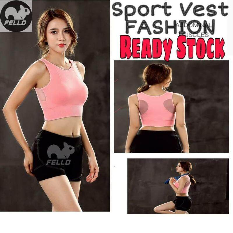 READY STOCK FELLO Sport Vest Exercise Shockproof Padded Athletic Gym Yoga Sport Bra