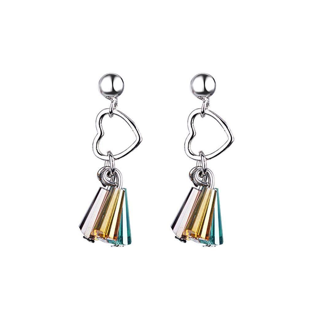 LALANG Women Heart-shaped Earrings Simple Fashion Multicolor Crystal Earrings (Silver)
