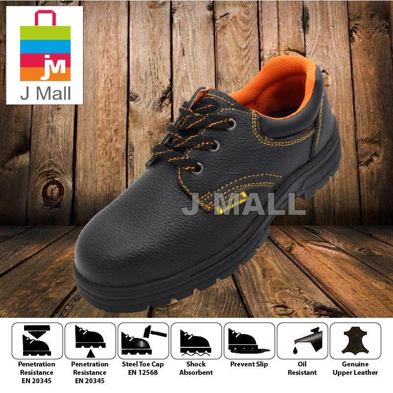J Mall WORKER W1000 Low-Cut Steel Toe Cap Safety Shoes Footwear Mid Sole - Black
