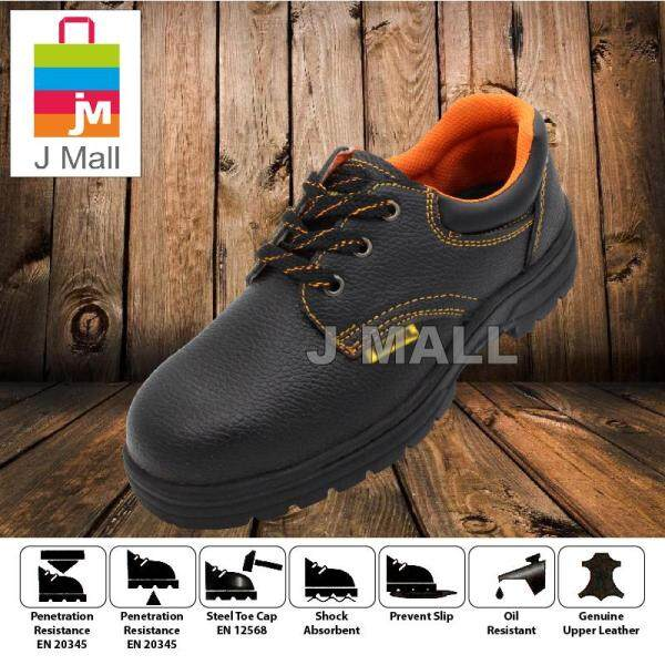 J Mall WORKER W1000 Low-Cut Steel Toe Cap Safety Shoes Footwear Mid Sole - Black