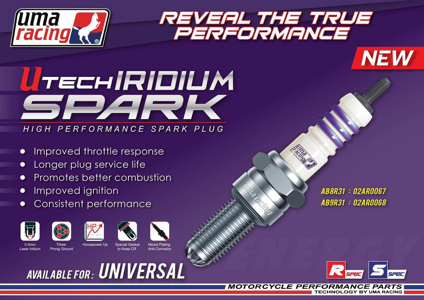 IRIDIUM SPARK PLUG AB9R3I Y15ZR LC135 RS150 ORIGINAL UMA RACING