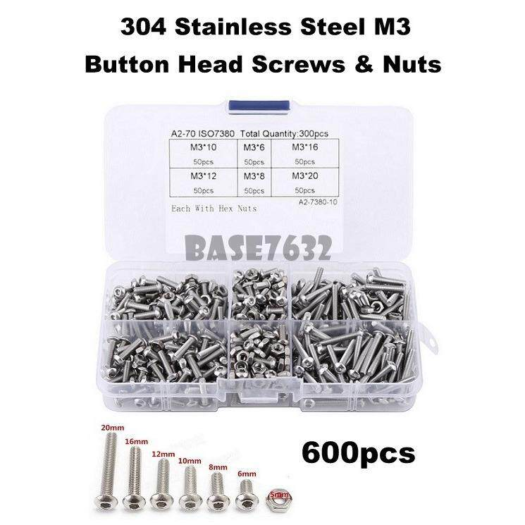 600pcs  304 Stainless Steel M3 Button Head Hex Socket Screws Nuts Box 2231.1