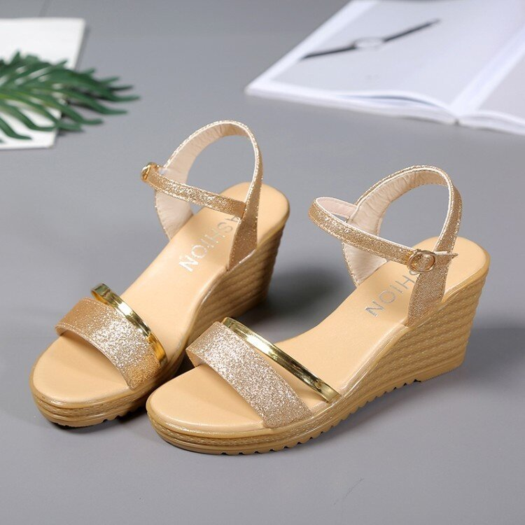 9538ef3a1a Product details of Summer Women's Heel Sandals Slope Elegant Shoes Shallow  Peep-toe Platform Wedges Shoes