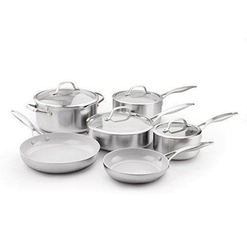 1d6905f46094 GreenPan CC000018-001 Venice Pro Ceramic Non-Stick 10Pc Cookware Set,  Silver,