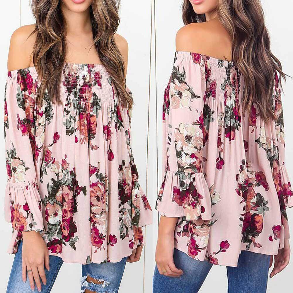 Buy Women Blouses Online At Best Price In Malaysia Lazada Blouse Off Shoulder Wanita Charming Pink Fuchsia S Genmoment Sexy Fashion Floral Print Tops Flare Sleeve Shirt