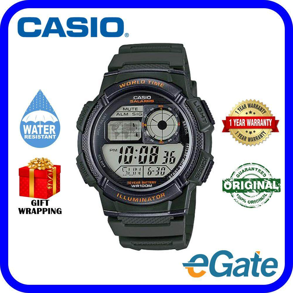( 2 YEARS WARRANTY ) CASIO STANDARD AE-1000W-3AV Men Digital  Army Dark Green Resin Strap Original Watch (AE-1000W) Malaysia