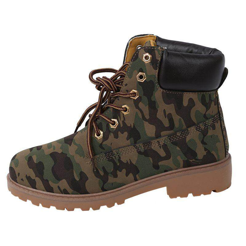 Men High Top Winter Boots Leather Waterproof Combat Hiking Work Ankle Shoes Size44 Camouflage