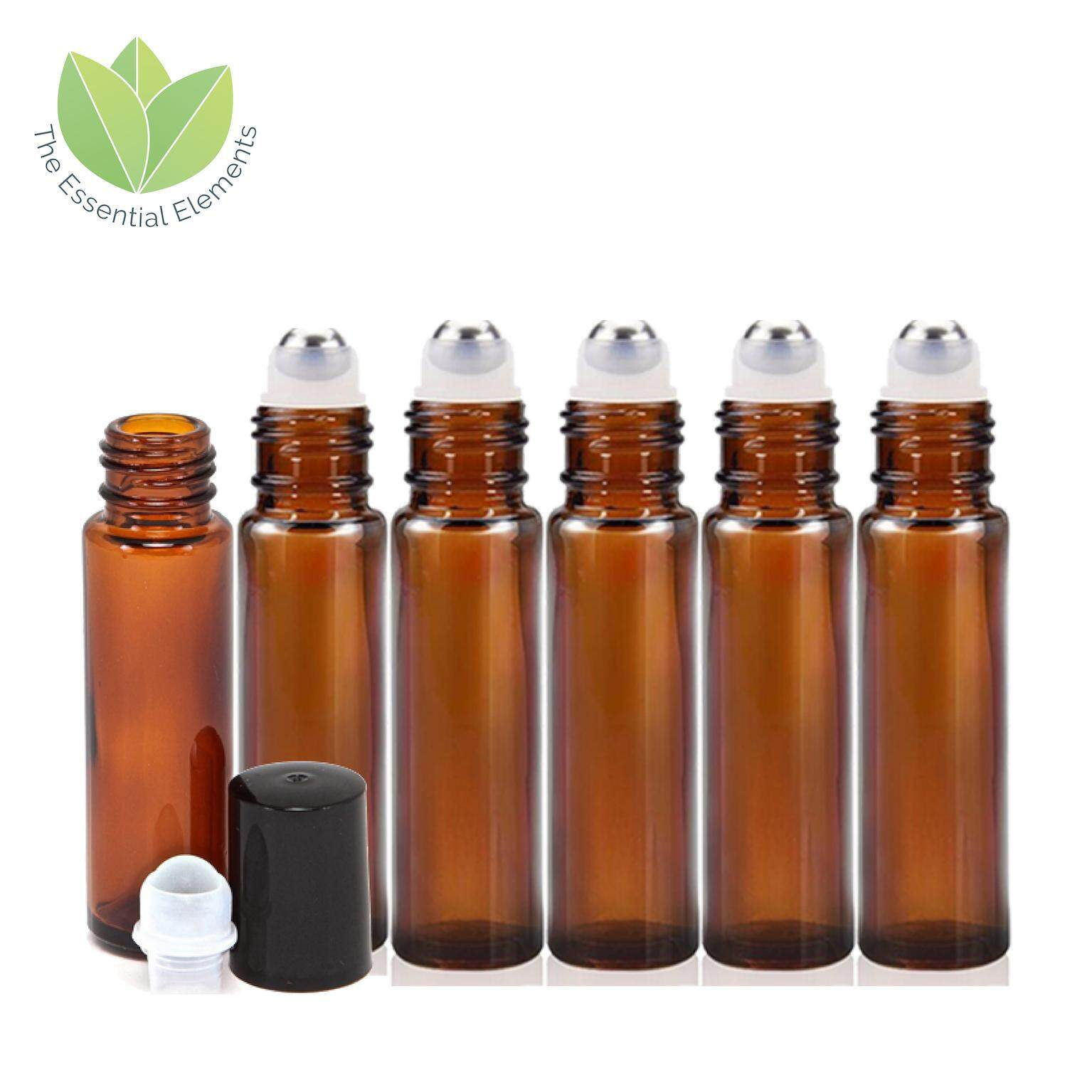 644fa05d7590 The Essential Elements 6pcs 10ml [THICK] Amber Glass Bottle for Essential  Oil Liquid with Metal Roller Ball