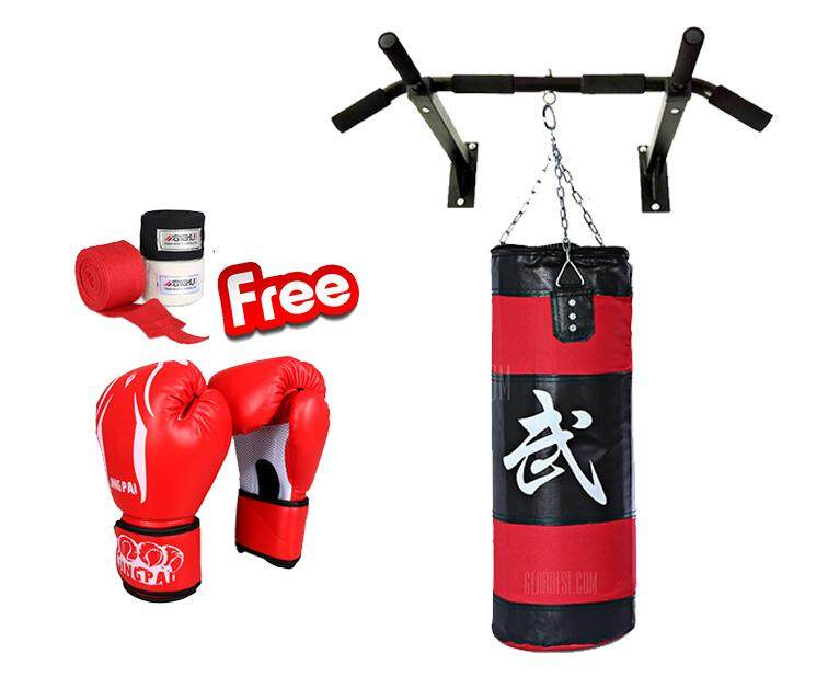 Combo Pack Punching Bag with Wall Mounted Pull Up Bar FREE Boxing Gloves