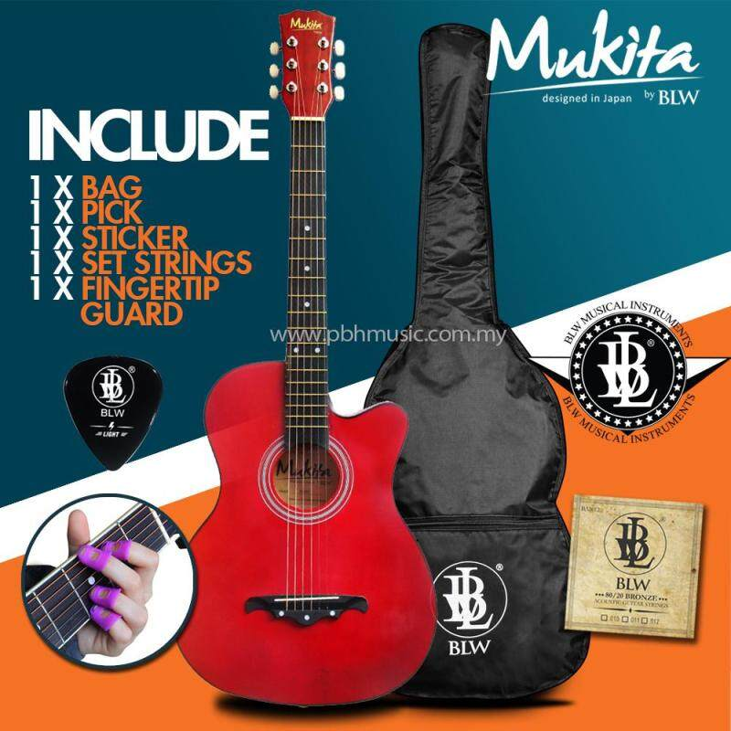 Mukita by BLW Standard Acoustic Folk Cutaway Basic Guitar Package 38 Inch for beginners with Bag, String Set, Fingertip Guard, Pick and Merchandise Sticker (Crimson Red) Malaysia