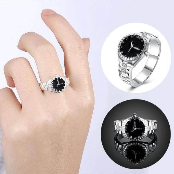 Creative Women Quartz 925 Silver Finger Ring Watch Alloy Personality Jewelry Malaysia