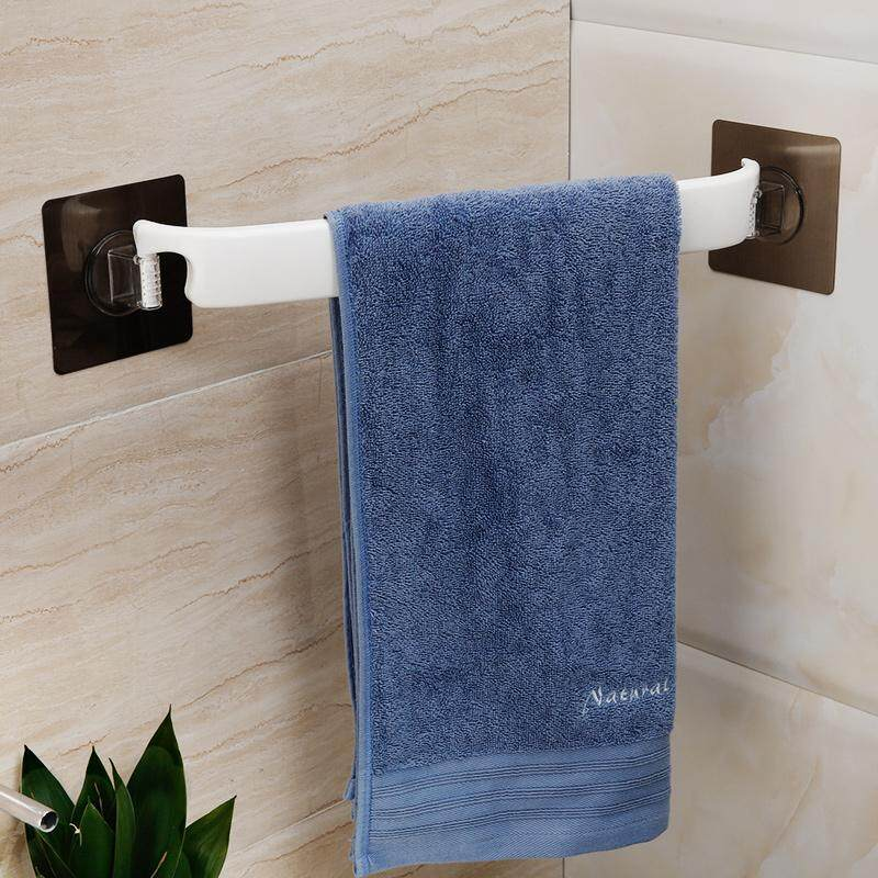 Bathroom-Free Punched Plastic Towel Rack Corner Storage Rack Case Suction Wall Single Pole Towel Rod Bathroom Wall Hangers Towel Bar By Taobao Collection.