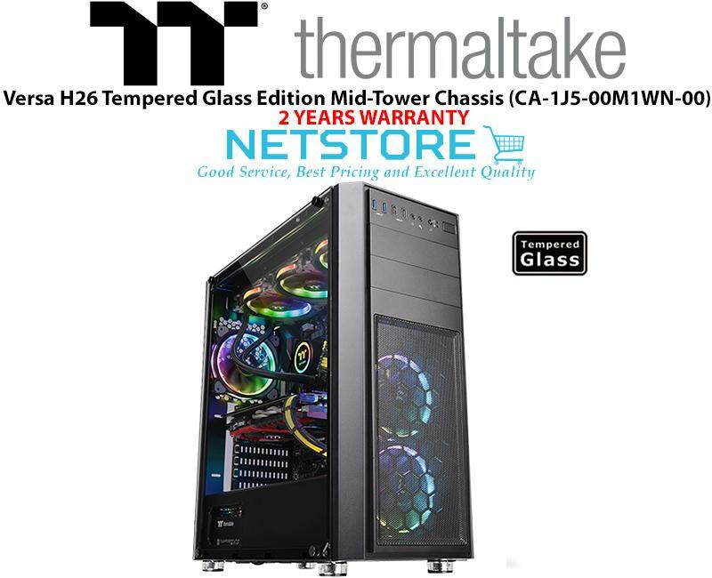 Thermaltake Versa H26 Tempered Glass Edition Mid-Tower Chassis CA-1J5-00M1WN-00 Malaysia