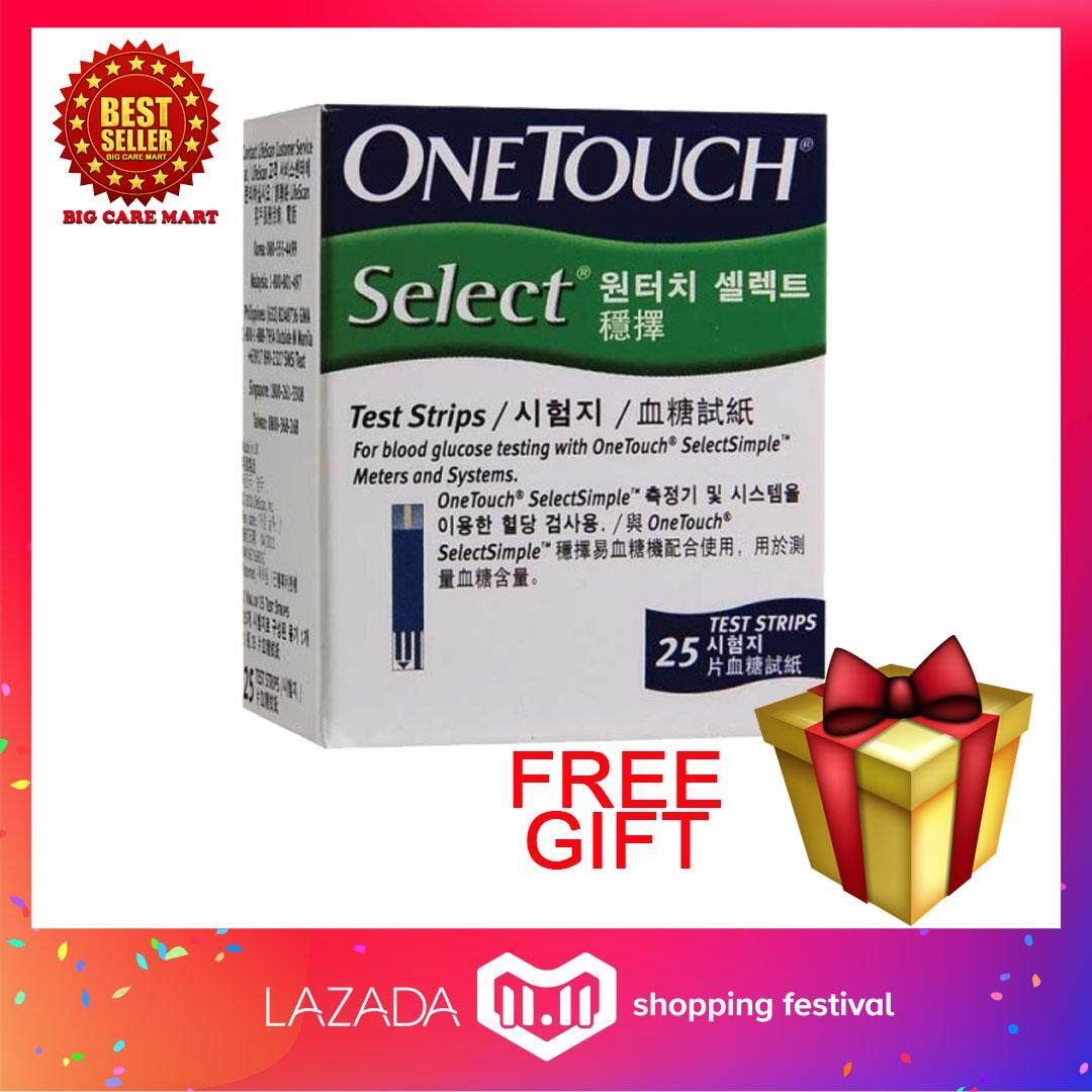 One Touch Select Simple Test Strips 25s + Free Gift By Big Care Mart.