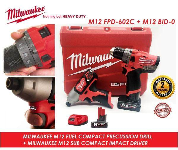 Milwaukee M12 FUEL 2-Speed Percussion Drill Driver Combo Set, Percussion Drill Combo