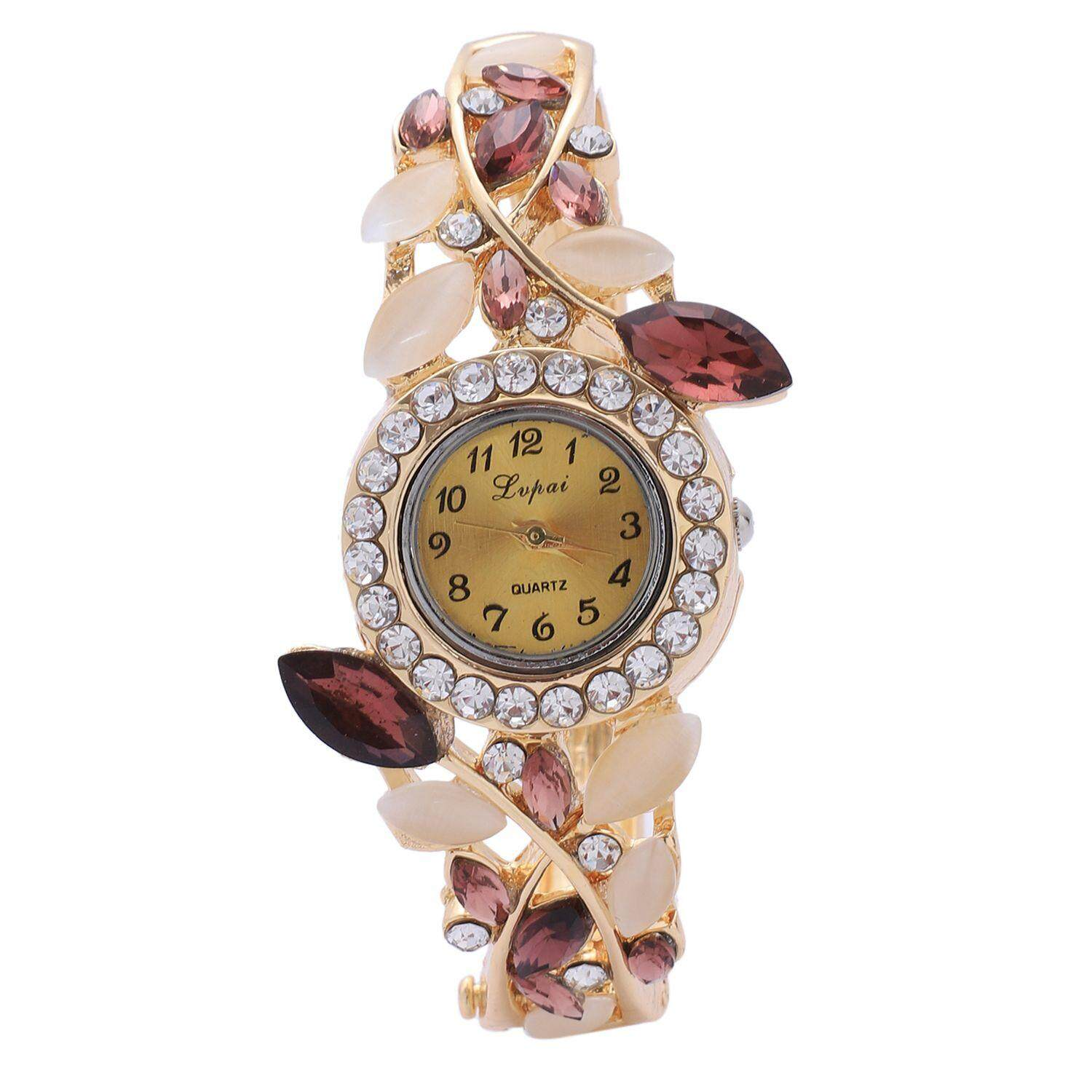Lvpai Fashion Vintage Women Dress Watches Colorful Crystal Women Bracelet Watch Wristwatch Casual Gift Dress Clock Watches, P054 Purple Malaysia