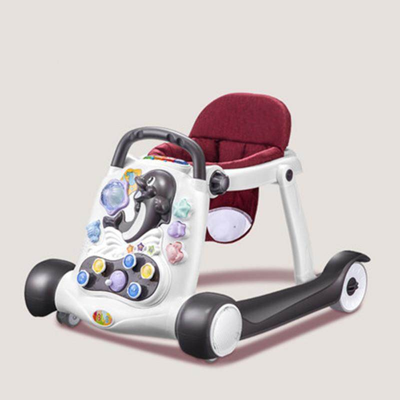 Safety Baby Walker Anti-rollover Multifunction With Music Baby Hand Push Can Sit Children Walker