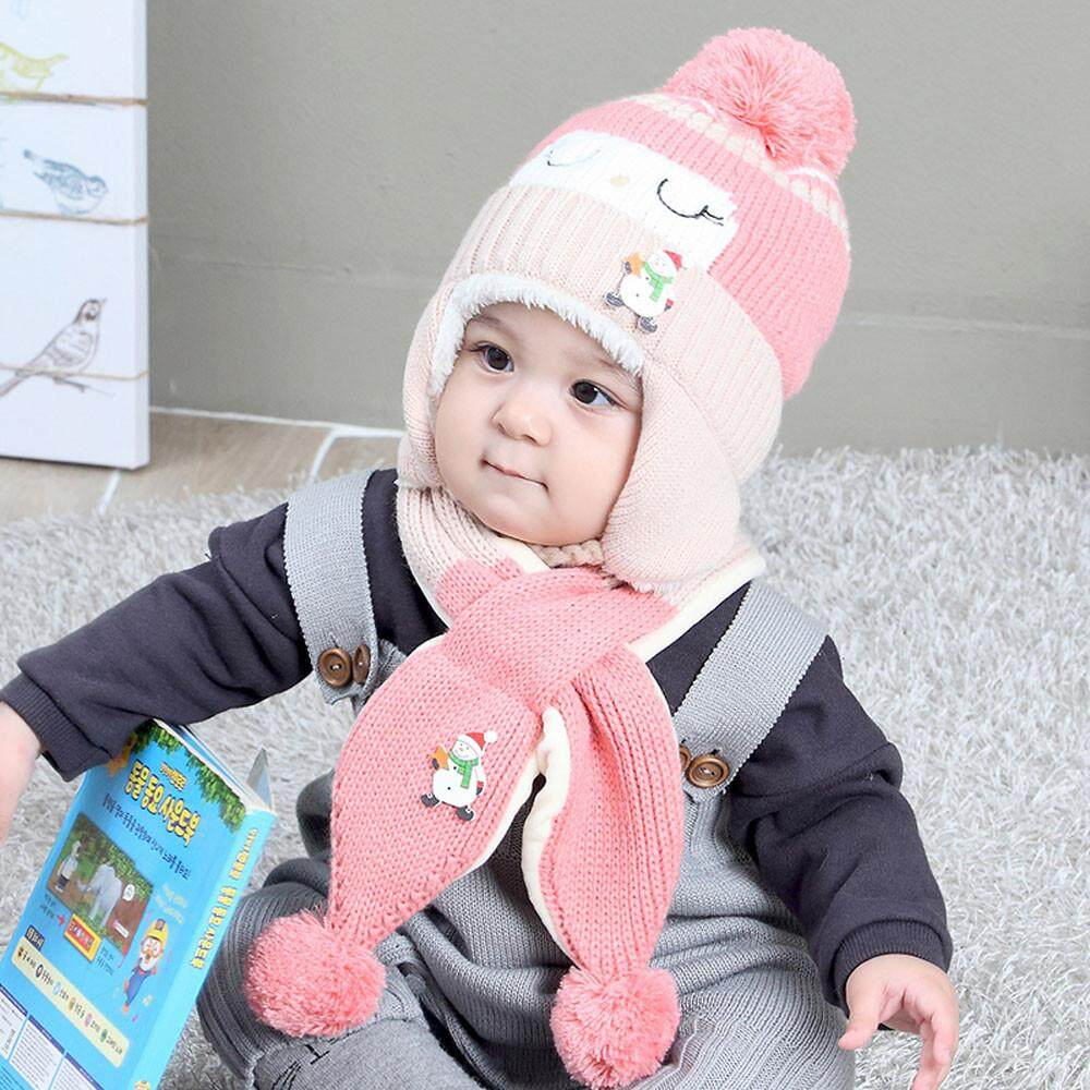 56a443cd9a53c5 Baby Boys Girls Winter Beanie Warm Hat Children Knitting Ball Hats Scarf  Sets
