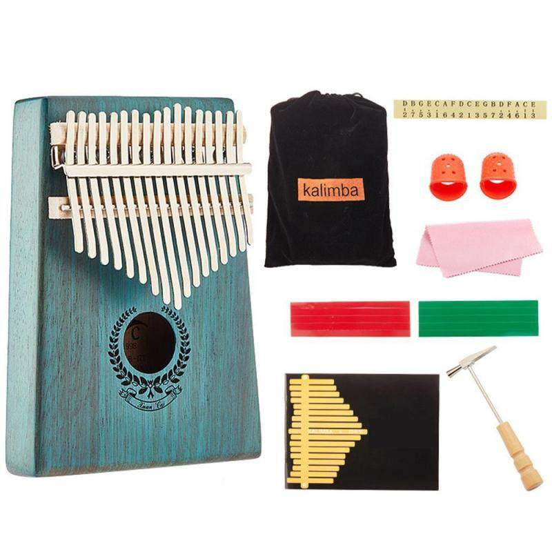 Futureten 17 Key Kalimba Thumb Piano, Solid Mahogany Wood Body Finger Piano with Tune Hammer,Carry Bag,Pickup,Key Stickers Malaysia