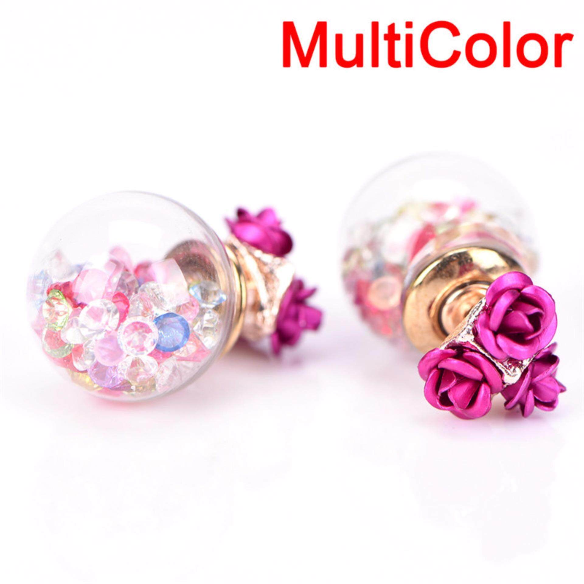 d2a0650c3 1Pair Women Double Sides Rose Flower Crystal Ball Ear Stud Earrings Jewelry  Chic Multicolor 1.6cm