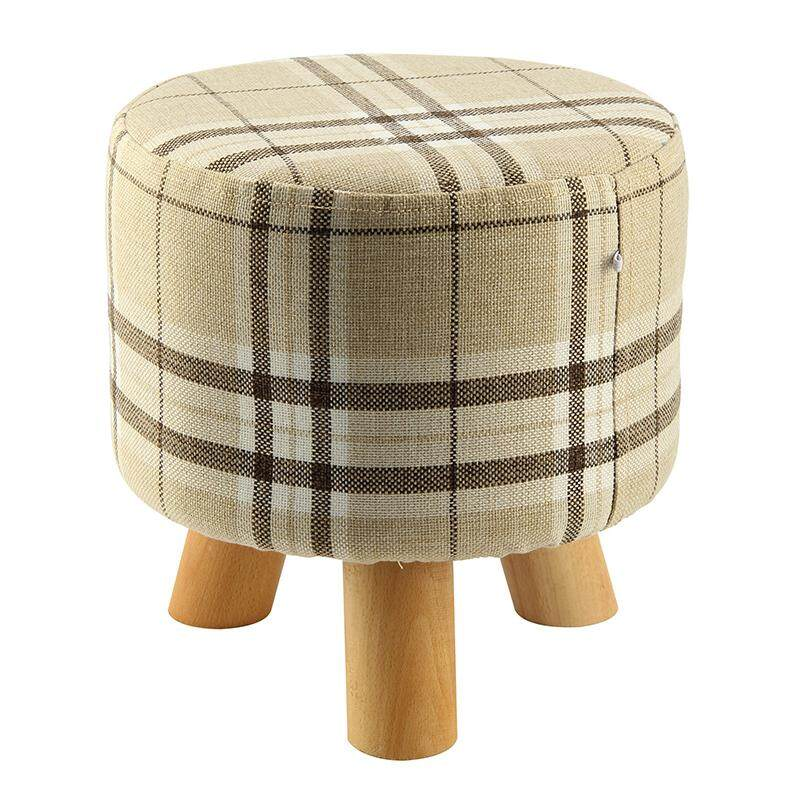 Modern Luxury Upholstered Footstool Round Pouffe Stool + Wooden Leg Pattern:round Fabric:big Checkered(3 Legs) By Shakeshake.