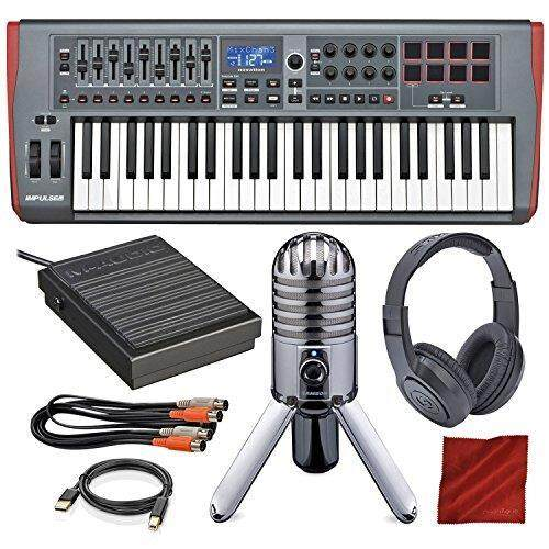 Novation Impulse 49 USB Midi Keyboard Controller with Samson Meteor Mic USB Microphone, Closed-