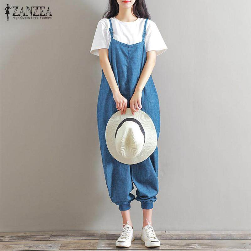 2ea25996f7fb ZANZEA Rompers Women Jumpsuit Casual Loose Herem Playsuit Sleeveless  Backless Pockets Solid Long Overalls Plus Size