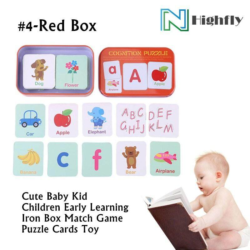 Cute Baby Kid Children Early Learning Iron Box Match Game Puzzle Cards Toy (4-Red Box) By Highfly.