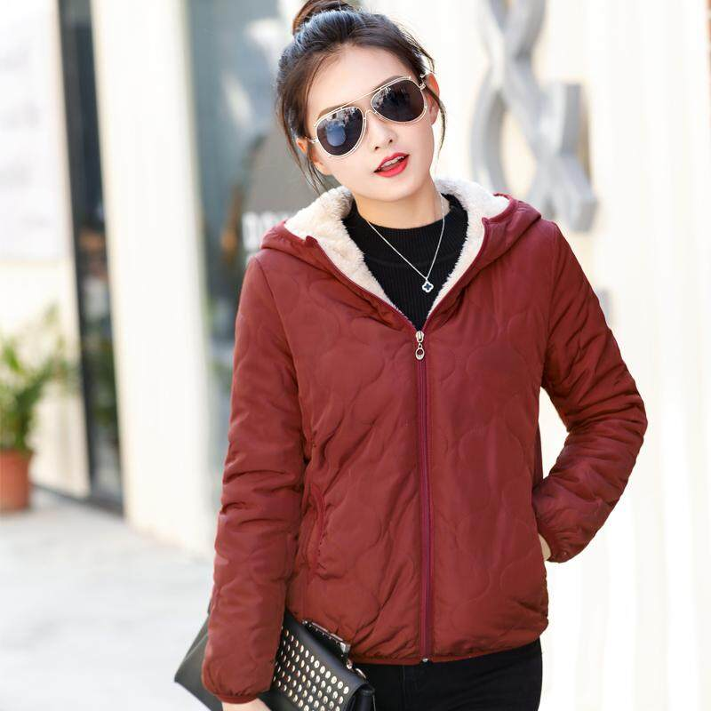 2018 New Style Cotton-Padded Clothes Female Short Cotton-Padded Jacket Plus Velvet Down Coat Thick Winter Korean Style Cotton Coat Lambs Wool Outside By Taobao Collection.