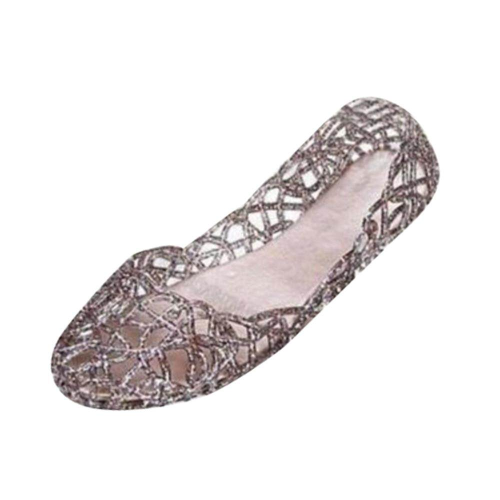 425a8e9d7020bd coconie Women Summer Slipper Sparkling Jelly Shoes Shiny Baotou High  Elastic Shoes BK 36