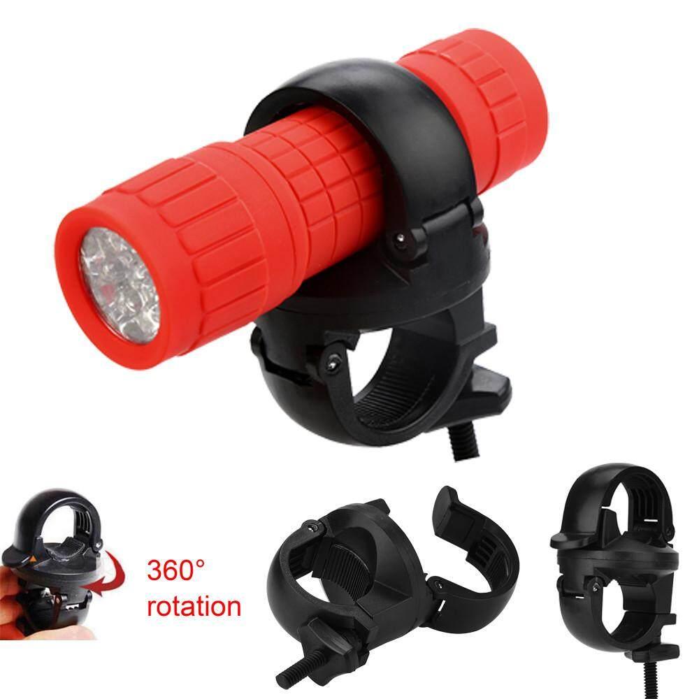 Mtb Bike Led Front Flash Light Torch Lamp Mount Clip Holder Bracket 360°rotation By Dakeres.