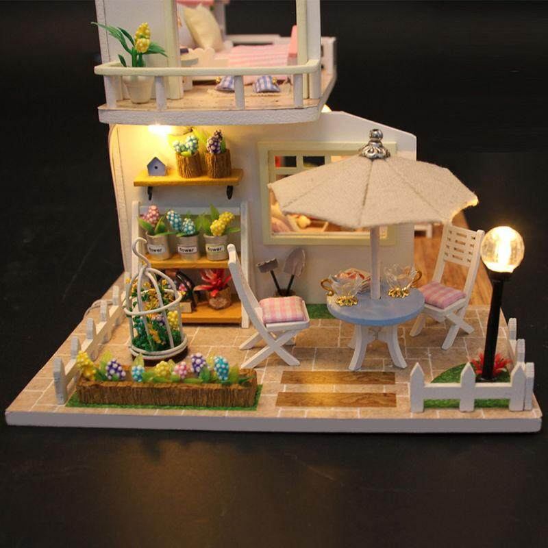 Girls Wood Toys Doll House Cottage Dollhouse Miniature Diy Kit W/ Led Lights Zb By Tinton Life Global Store.