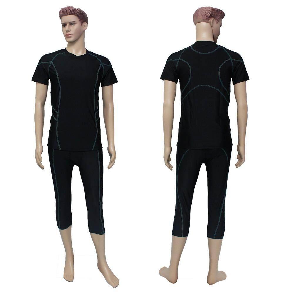 Popular Mens Swimwear For The Best Prices In Malaysia Sweater Anak Laki Rbj347 New 2 Piece Men Swimming Suit Swim Wear Baju Renang Lelaki Muslim Black