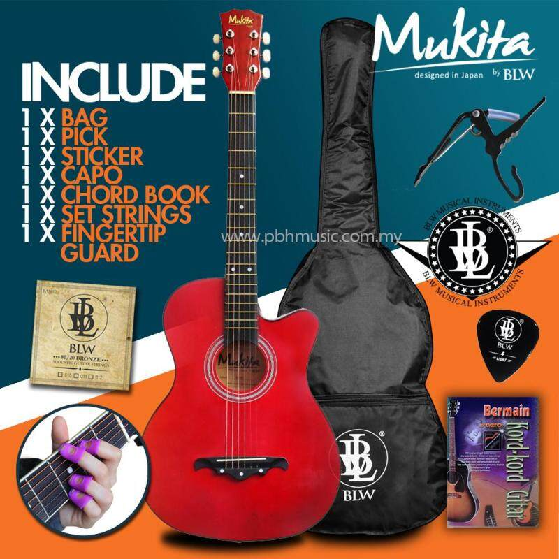 Mukita by BLW Standard Acoustic Folk Cutaway Basic Guitar Package 38 Inch for beginners with Bag, String Set, Fingertip Guard, Capo, Chord book, Pick and Merchandise Sticker (Crimson Red) Malaysia