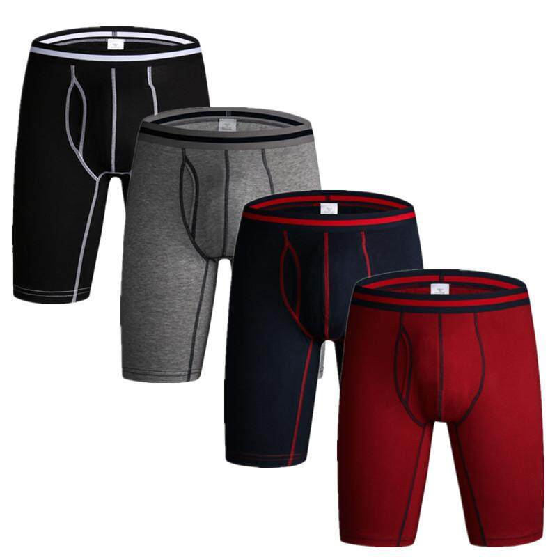 6d38b6651979 Set of 3 Men's Underwear Long Boxers Cotton Flexible Comfortable Underpants  Pure Color Shorts Breathable Swim
