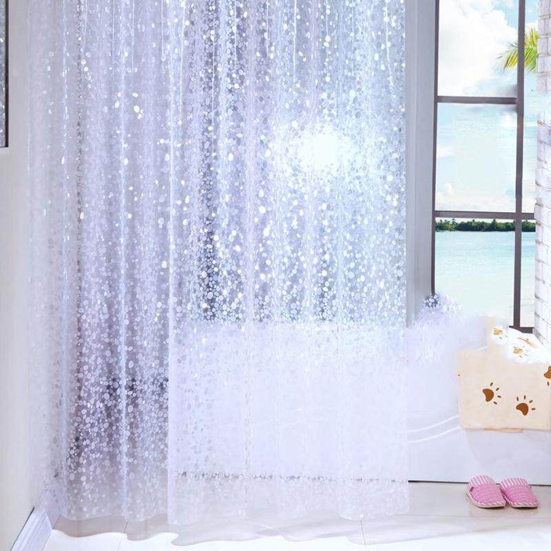 Shower Curtain Pebbles Waffles PEVA Waterproof And Mildewproof With 12 Hooks Bathroom Accessories 180x180cm Transparent Free