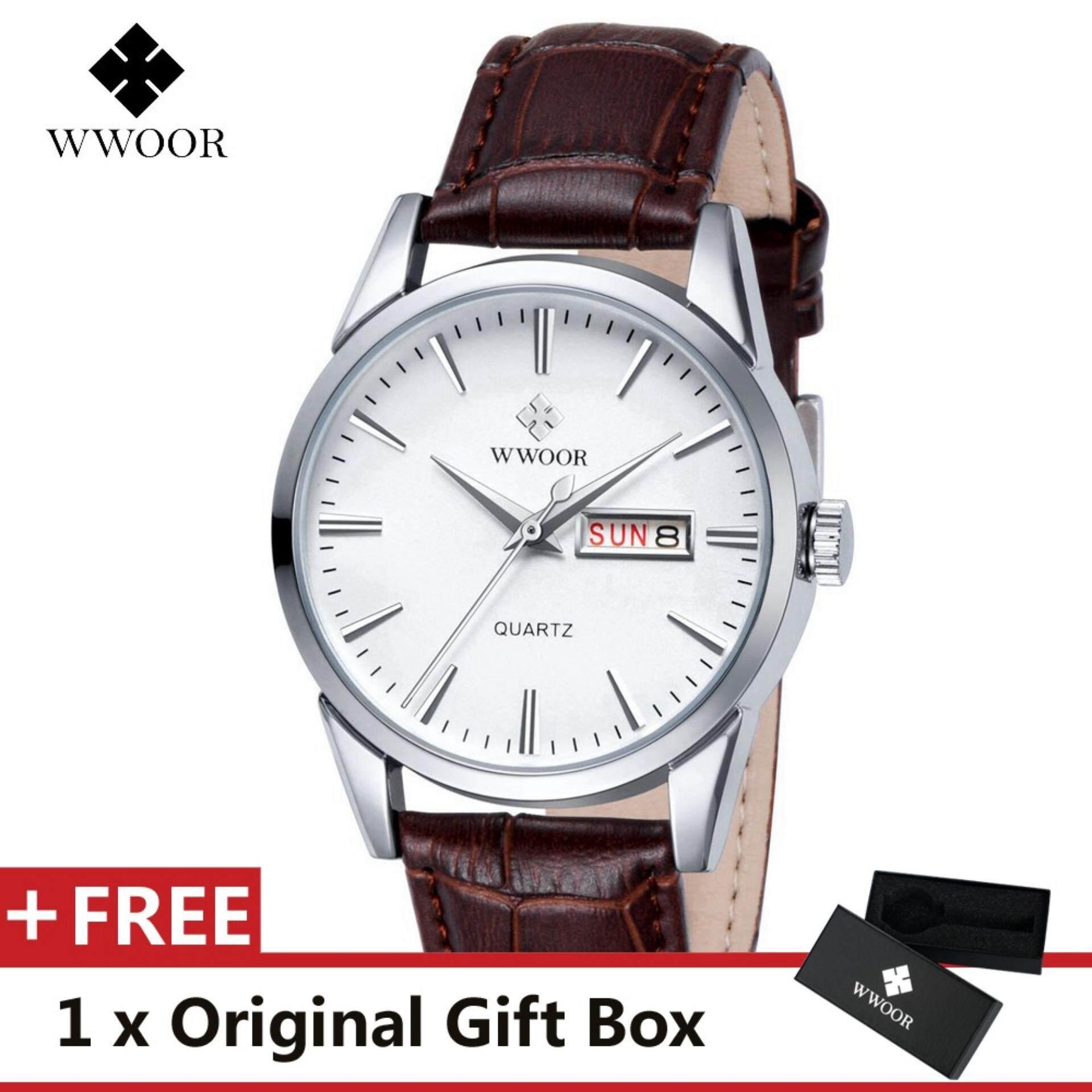 d23640489 WWOOR Top Luxury Brand Watch Famous Fashion Sports Cool Men Quartz Watches  Calendar Waterproof Leather Wristwatch