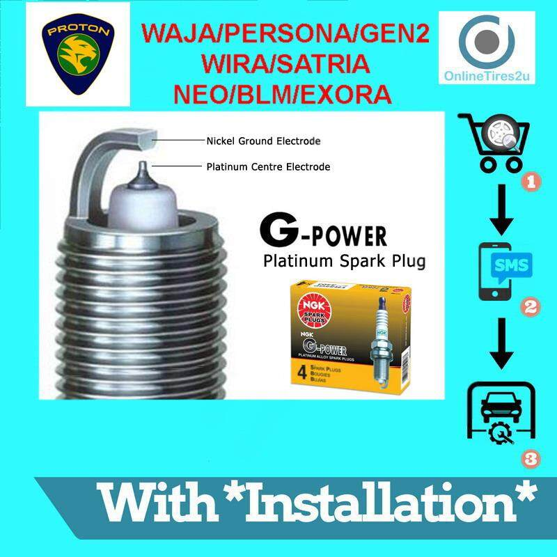 Ngk G-Power Platinum Spark Plug - Proton Waja/gen2/persona/exora/blm (with Installation) By Onlinetires2u.