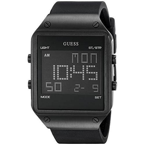 421405e5b GUESS Guess Men's U0595G1 Trendy Black Stainless Steel Watch with Digital  Dial and Black Strap Buckle