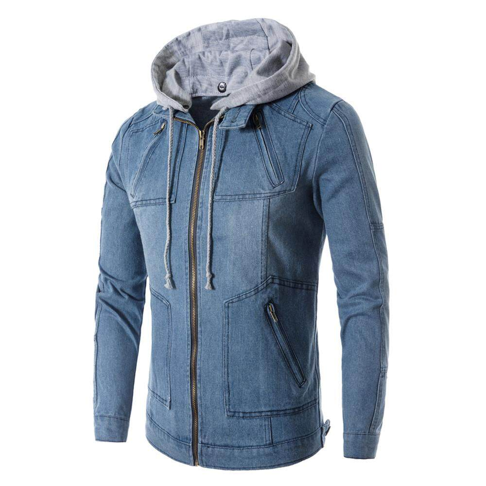 b6ce7379 Rainny Men Fashion Long Sleeve Pockets Zipper Jeans Denim Hooded Coat Jacket