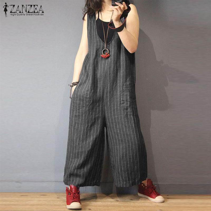 12505e113af8 ZANZEA Women Sleeveless Overalls Romper Playsuit Striped Wide Leg Jumpsuit