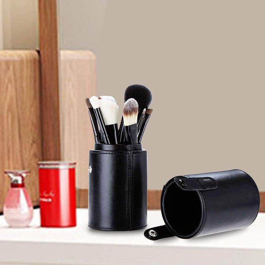 d08cae294080 Makeup Brush Holder Round Cylinder Tube,Makeup Brush Storage Bucket,Vegan  Leather PU with Buckle Make Up Cup Organizer Storage Case for Travel or ...