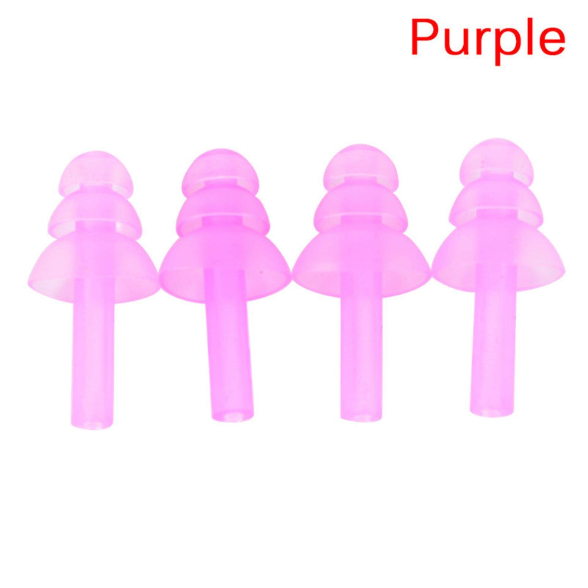 Mecola Silicone Ear Plugs Anti Noise Snore Earplugs Comfortable For Study Sleep 4pcs Purple By Mecola.