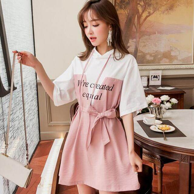 2b8a3be8b New 2018 Short Hooded Printed Loose Show Shin Pink Schoolgirl Dress