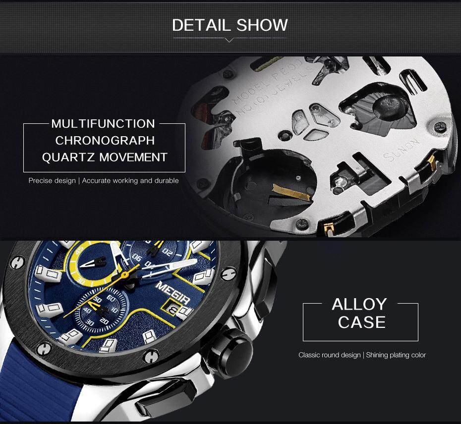 fad91bb4aa5f Product details of MEGIR MN2053G Men Sport Watch Chronograph Silicone Strap  Quartz Army Military Watches - intl