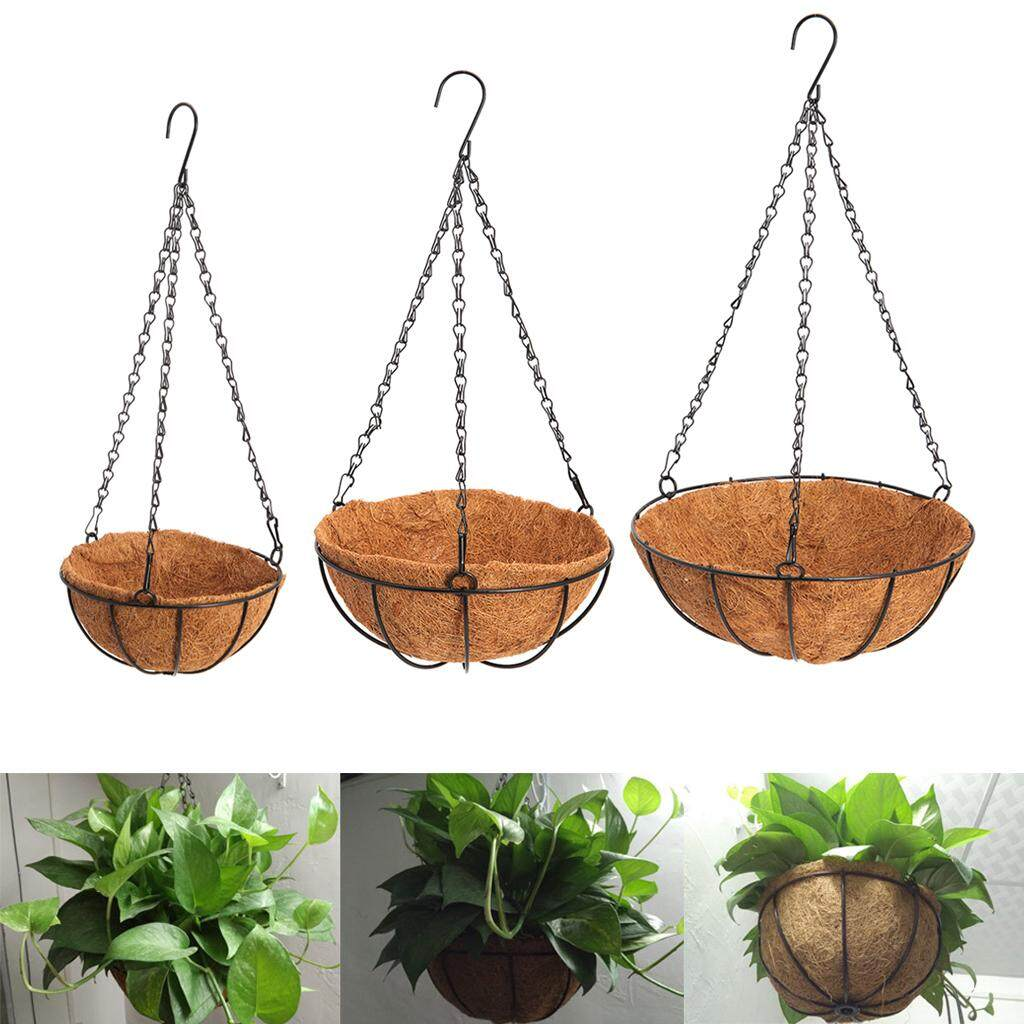 30cm Hanging Coconut Vegetable Flower Pot Basket Liners Planter Garden Decor Iron Art