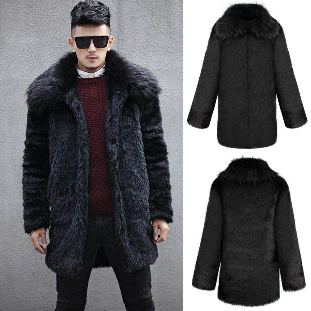 83ad96a15f4 Wonder Korean-style Mens Winter Warm Thick Fur Collar Coat Jacket Faux Fur  Parka Outwear